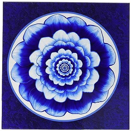 3dRose Jaclinart Pastel Blue And Cobalt Fantasy Mandala Flower On Royal Background Tile