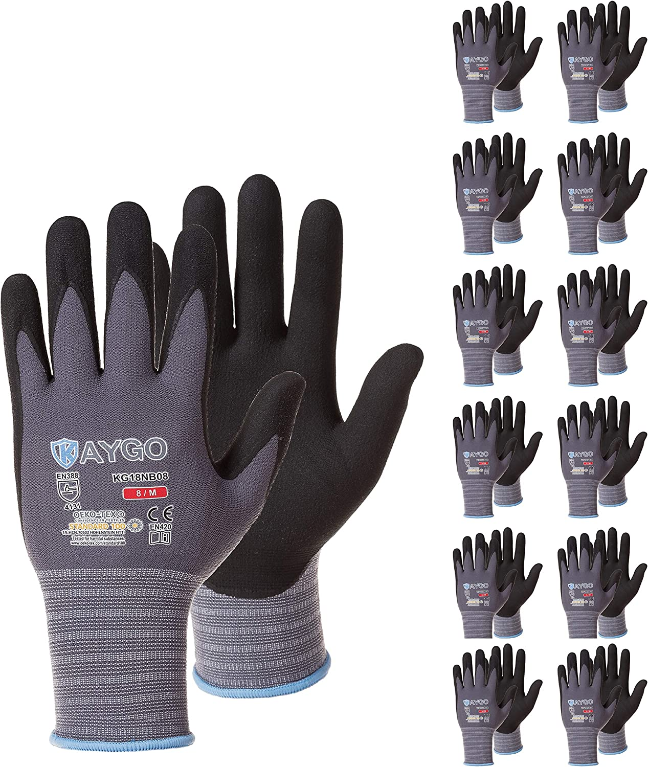 Seamless Knit Glove with Polyurethane Coated Smooth Grip on Palm /& Fingers Safety Work Gloves PU Coated-12 Pairs,KAYGO KG11PB for Men and Women Ideal for General Duty Work Medium, Black