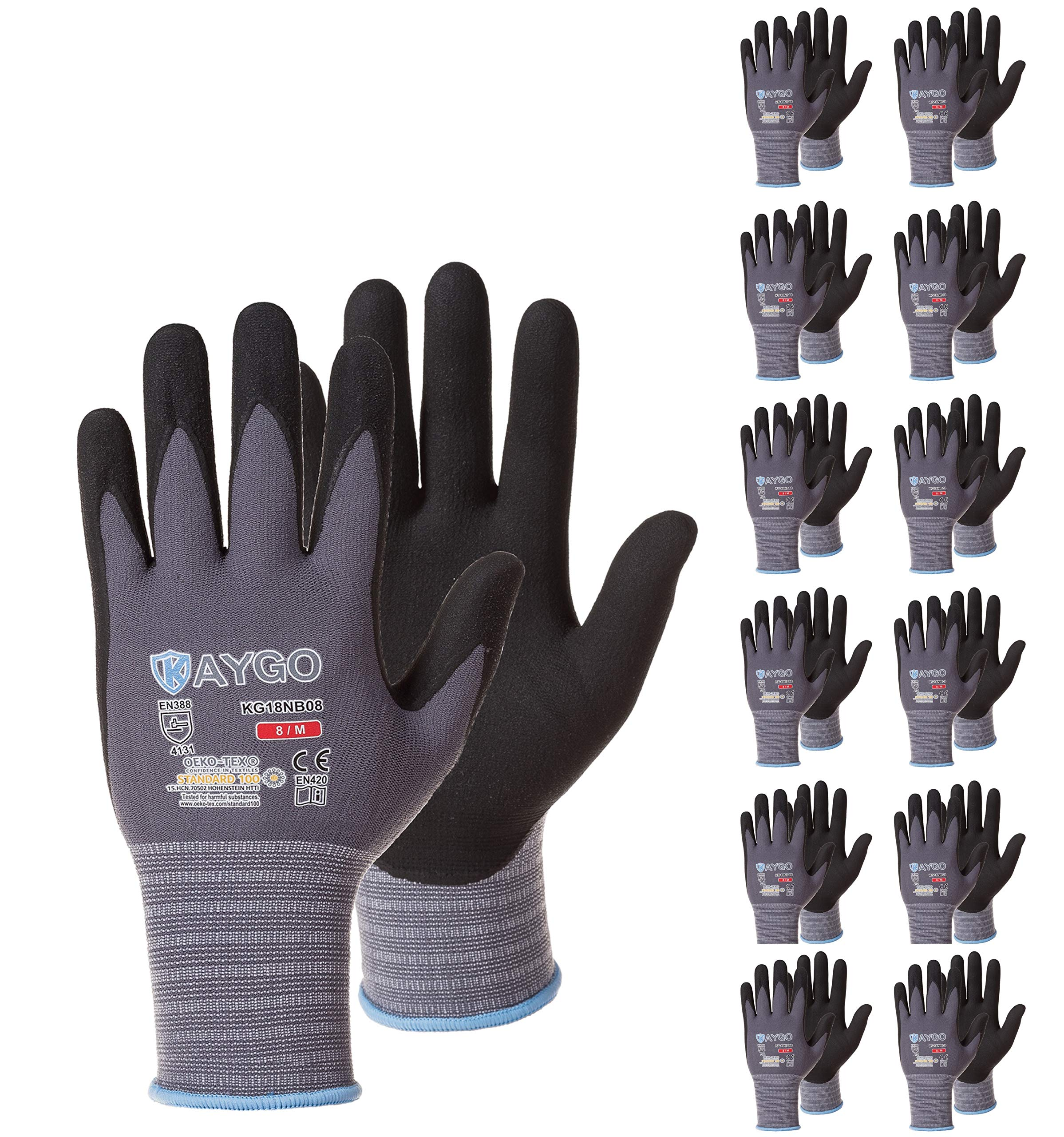 Safety Work Gloves MicroFoam Nitrile Coated-12 Pairs,KAYGO KG18NB,Seamless Knit Nylon Glove with Black Micro-Foam Nitrile Grip,Ideal for General Purpose,Automotive,Home Improvement,Painting by KAYGO