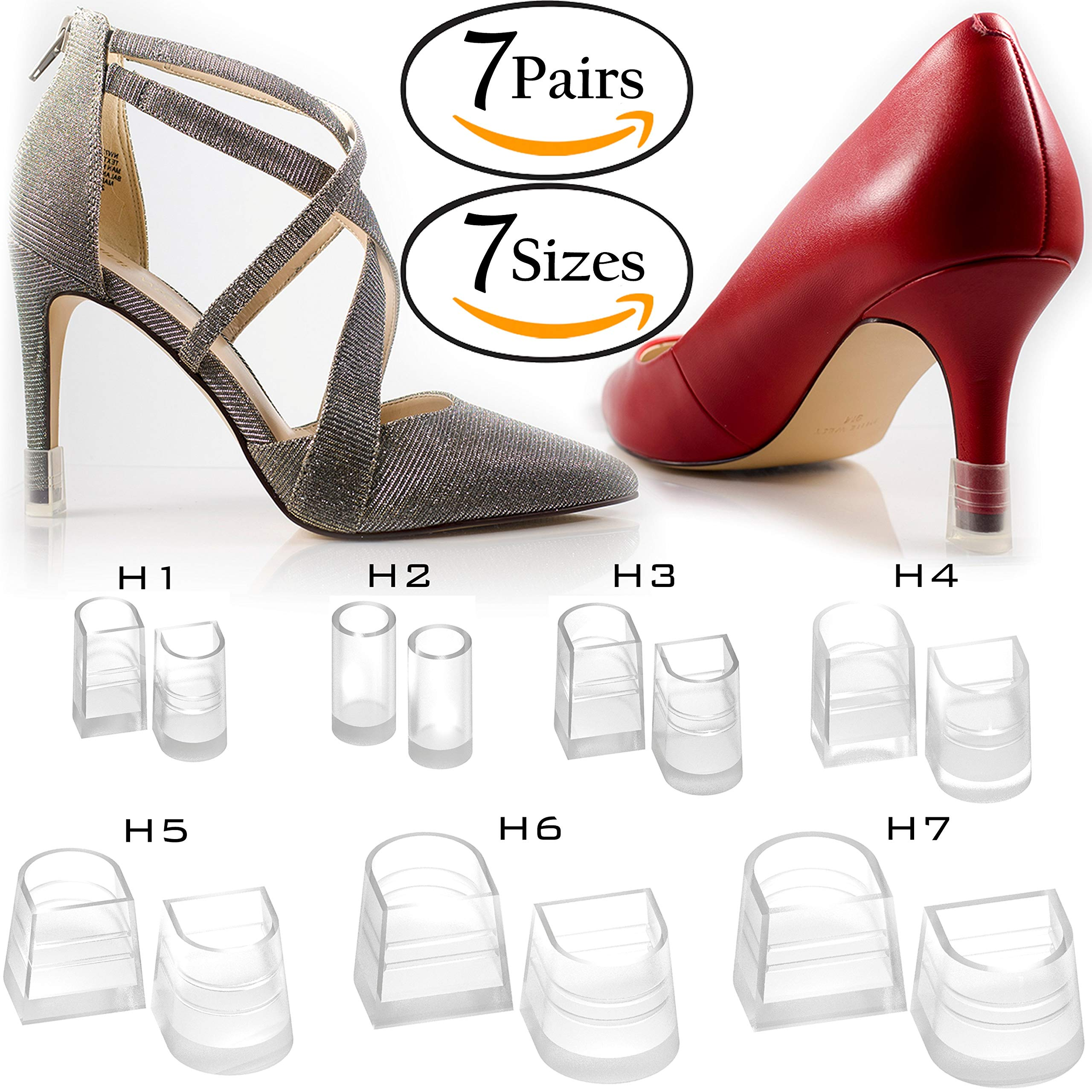 7 Sizes 7 Pair Set Clear-Glass High Heel Protectors & Heel Repair Replacement Anti-Slip & for Grass Caps [Assortment Pack, Fits High Heel Shoes & Stiletto Tips] - 7 Hunks Set by Heel Hunks