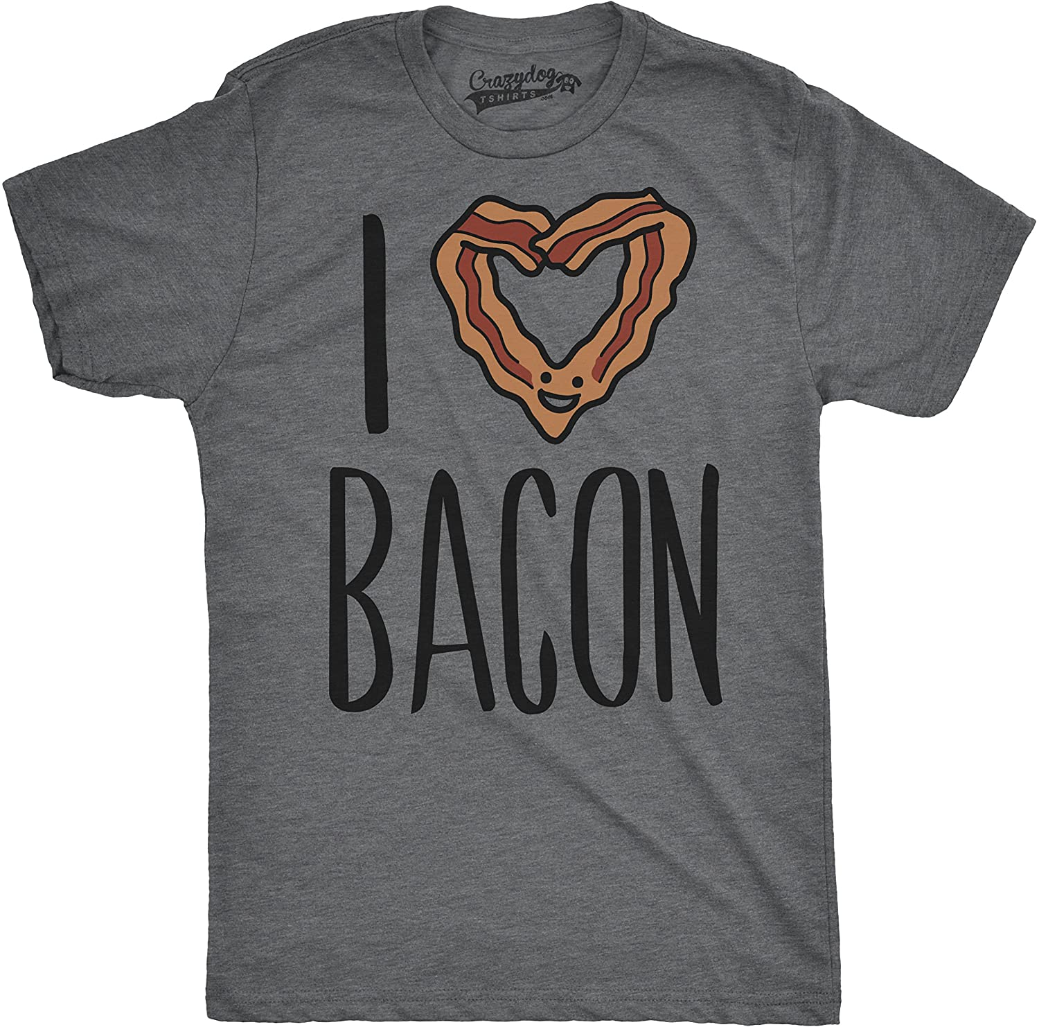 38fb127f9 Amazon.com: Mens Scented Ink I Heart Bacon Funny Bacon Smelling Scratch and  Sniff T Shirt Dark Heather Grey: Clothing