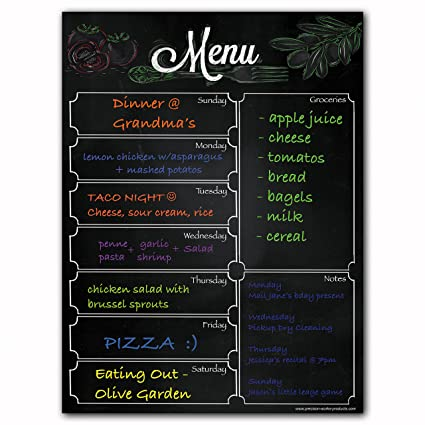 amazon com magnetic menu dry erase weekly meal planner