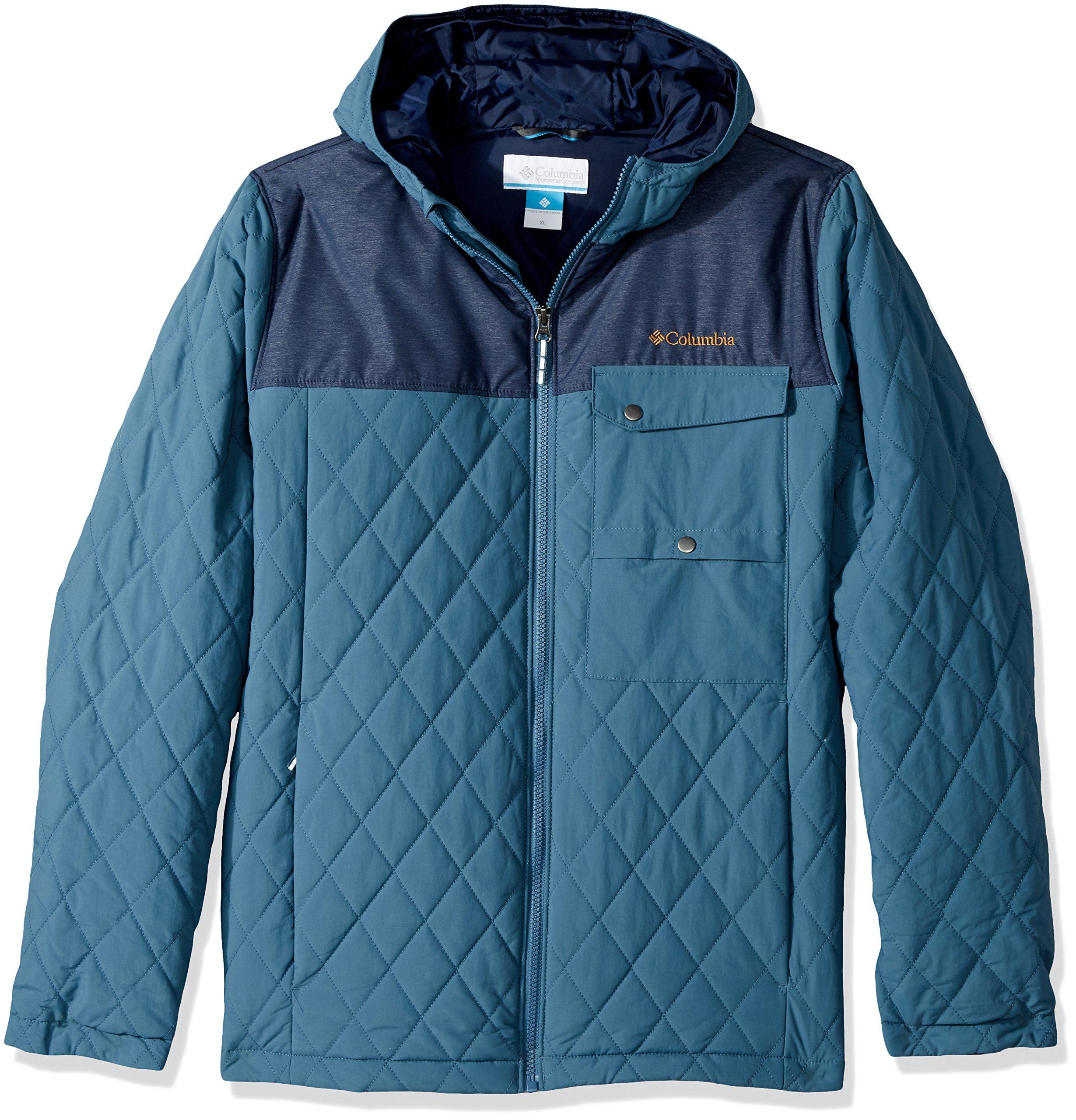 Columbia Boys' Big' Lookout Cabin Jacket, Blue Heron, Coll Navy Heather, Medium