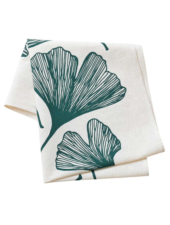 Ginkgo Leaf Flour Sack Tea Towel In Dark Green Kitchen Towel Flour Sack Towel Cotton Dishcloth Modern Kitchen Decor Handmade