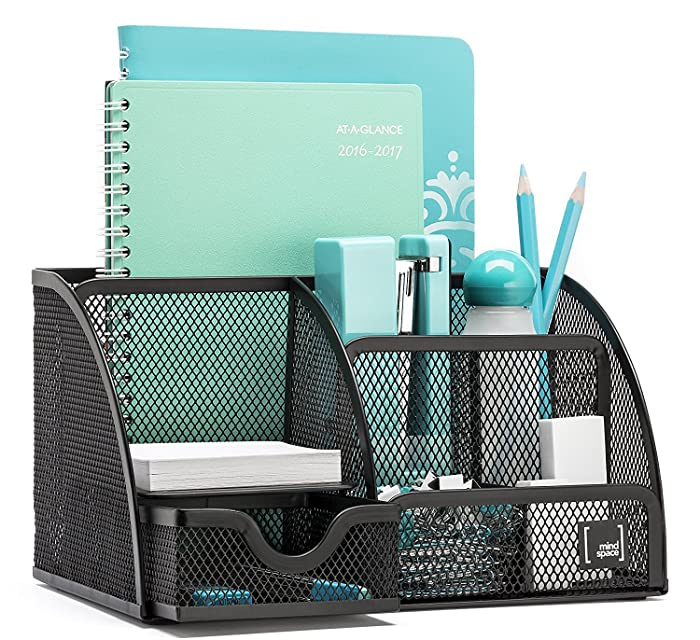 Mindspace Office Desk Organizer with 6 Compartments + Drawer | The Mesh Collection, Black