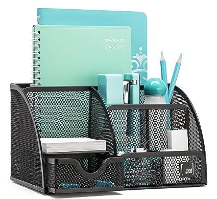 amazon com mindspace office desk organizer with 6 compartments rh amazon com mesh desk organizer with sliding drawer black mesh desk organizer walmart