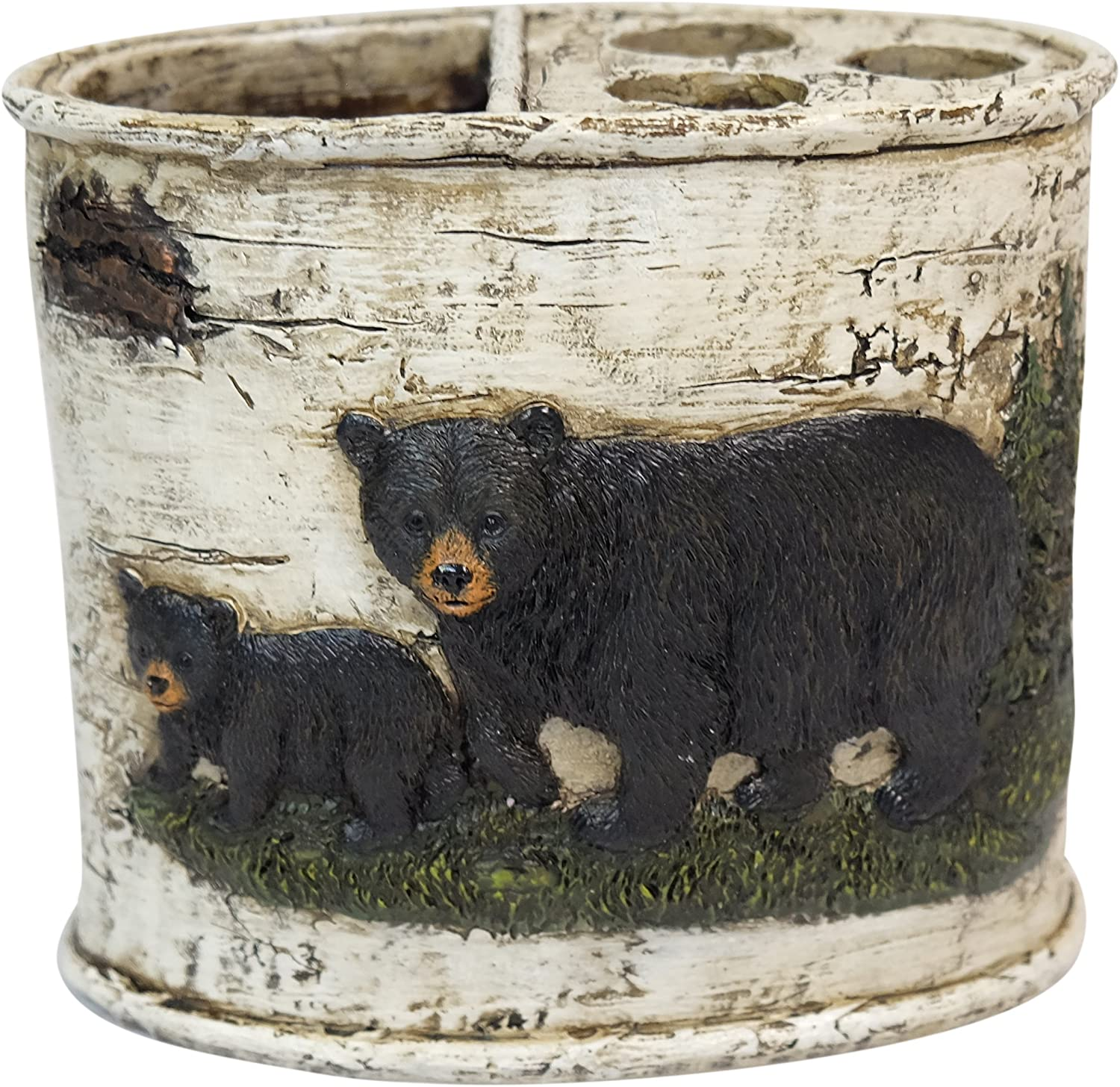 Toothbrush and Toothpaste Holder Ebros Black Bear in Pine Trees Bathroom Decor