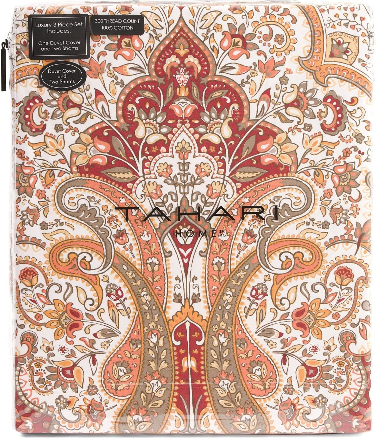 Tahari Home Bohemian Style Red Orange White Full Queen King Duvet Cover 3pc Set Moroccan Paisley Medallion Luxury Cotton(King)