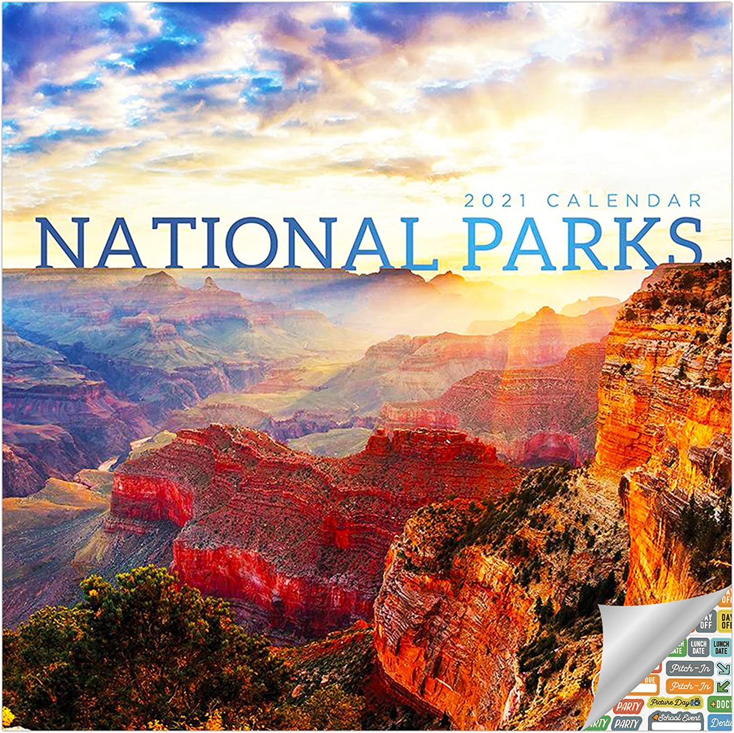 National Parks Calendar 2021 Bundle - Deluxe 2021 America's National Parks Mini Calendar with Over 100 Calendar Stickers (Nature Gifts, Office Supplies)
