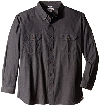 73d4c8770f29 Carhartt Men's Long-Sleeve Lightweight Chambray Button-Front Relaxed-Fit  Shirt S202 at Amazon Men's Clothing store: Button Down Shirts