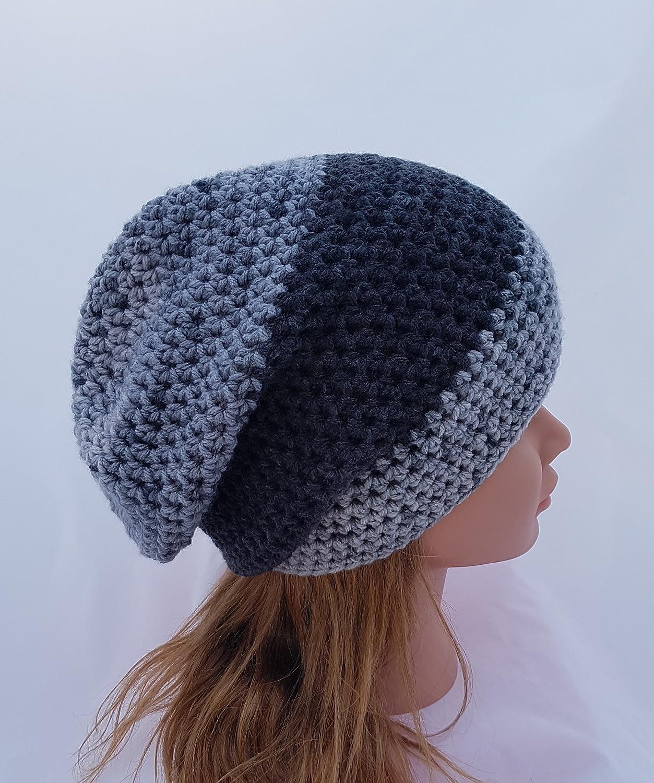 b0cfc897a4e23 Amazon.com  Women s Black and Grey Crochet Slouchy Beanie  Handmade