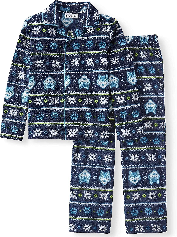 Boys Blue Fleece Snowflake Wolf Pajamas Nordic Sleep Set