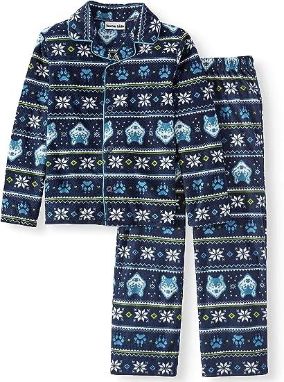 Size 2-14 Y Leveret Wolf Boys 2 Piece Pajama Cotton Top /& Fleece Pants