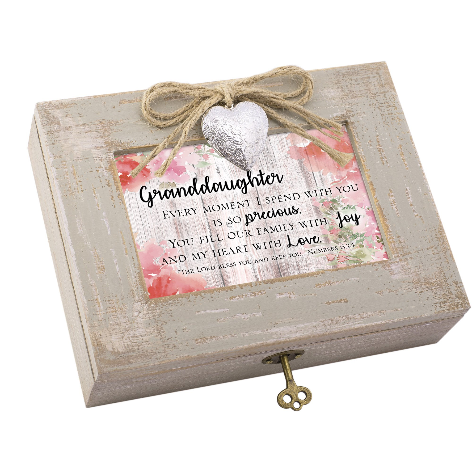 Cottage Garden Granddaughter Heart Love Natural Taupe Wood Locket Music Box Plays How Great Thou Art by Cottage Garden