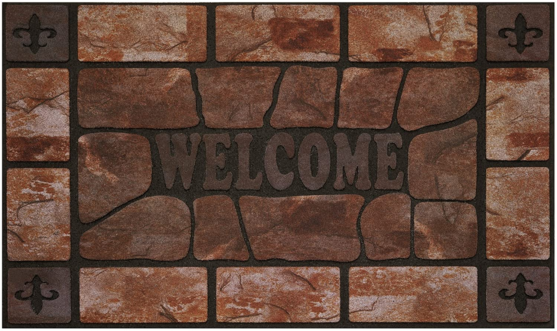 "Achim Home Furnishings RRM1830CS6 Clay Stone Raised Rubber Door Mat, 18 by 30"", Black"