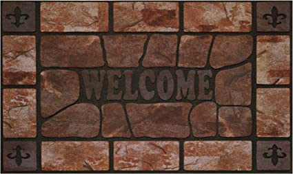 Amazon Com Achim Home Furnishings Rrm1830cs6 Clay Stone Raised Rubber Door Mat 18 By 30 Black Garden Outdoor