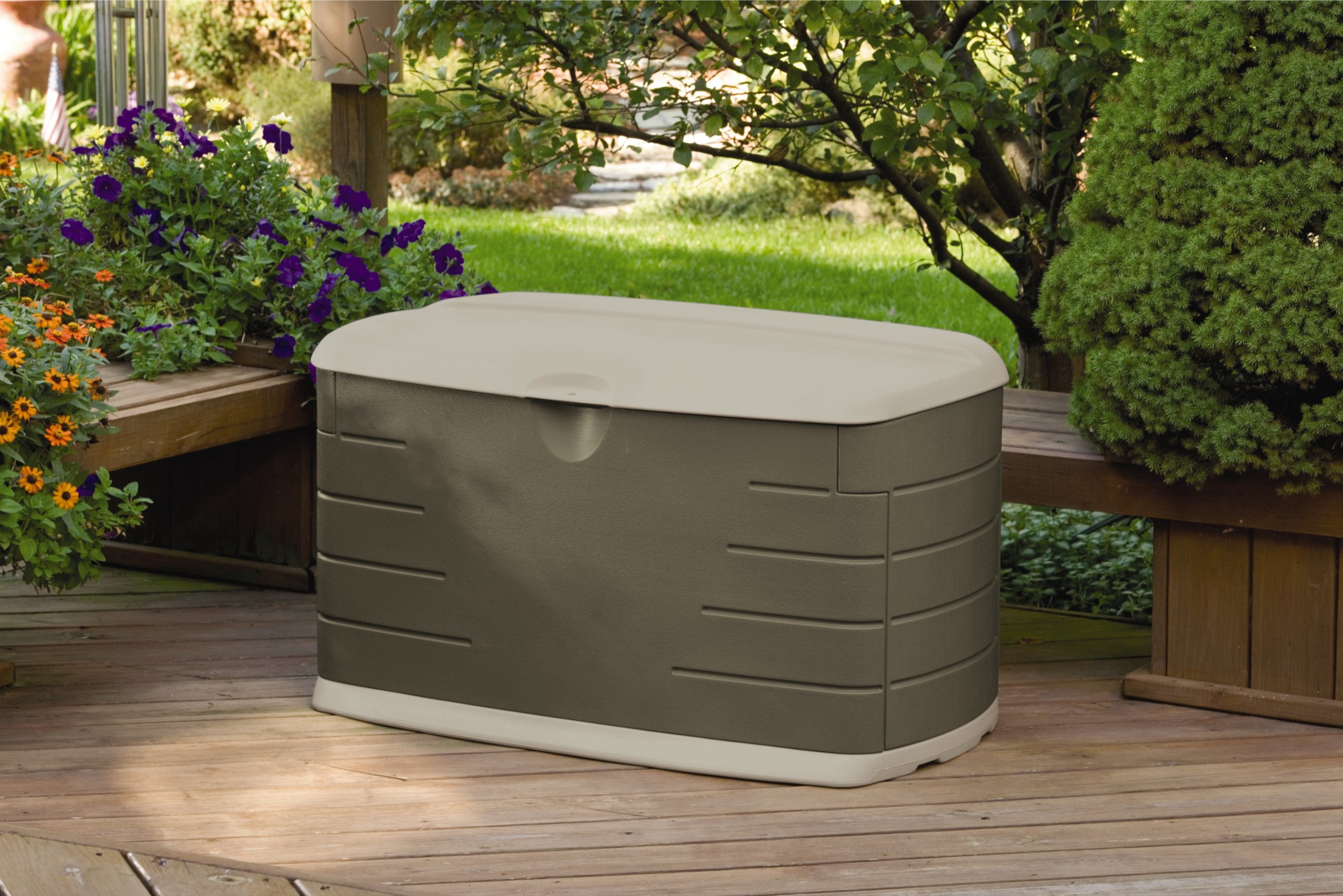 Rubbermaid Outdoor Deck Box With Seat, Medium, 46'' L x 24'' W x 24'' H (2047053)