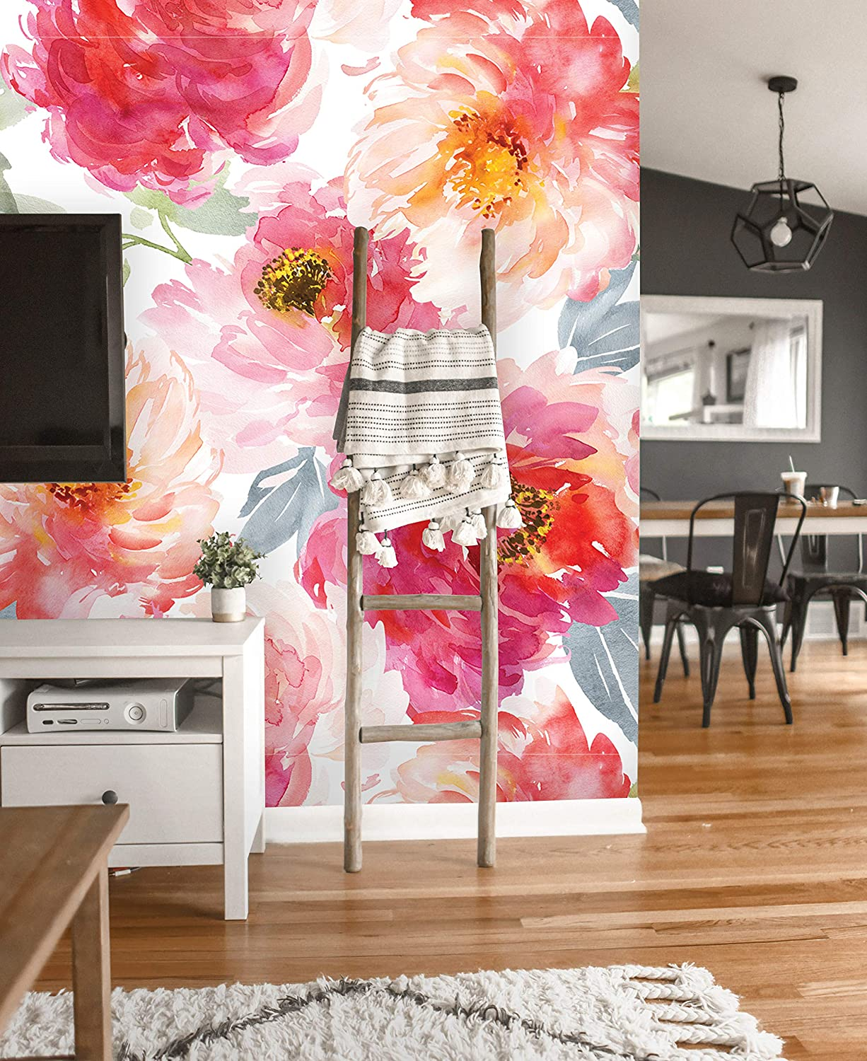 "Removable Wallpaper | Peel and Stick Floral Wallpaper | Self Adhesive Watercolor Flowers Wallpaper | Peonies Mural (24""W x 108""H Inches)"