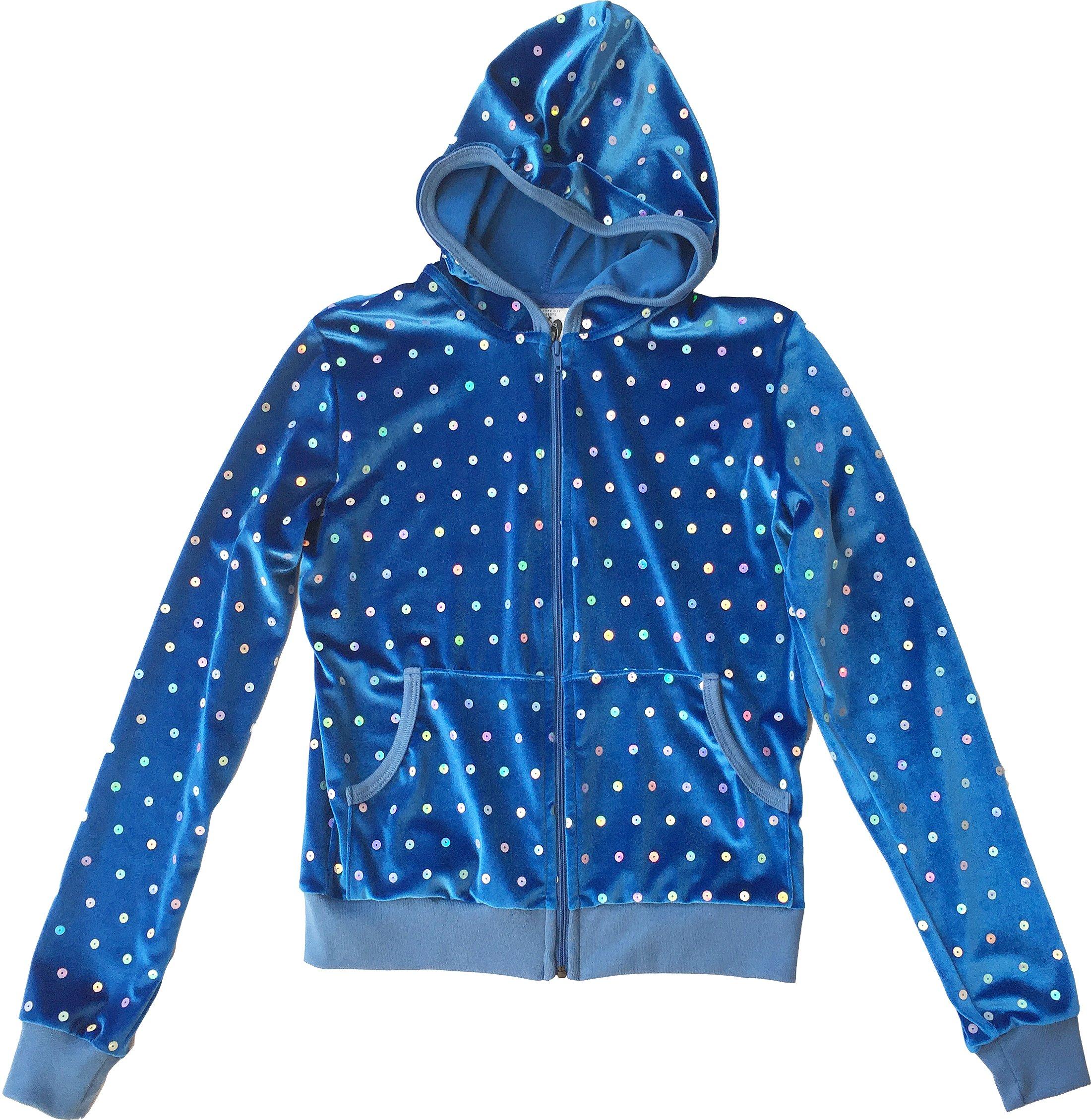 Blue Velour Hologram Sequins Juicy Lounge Track Hoodie Jacket