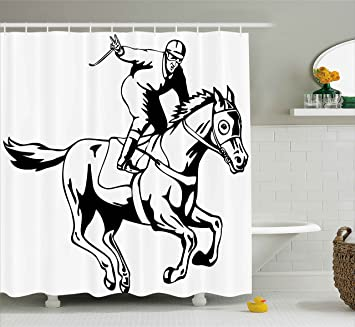 Equestrian Shower Curtain By Ambesonne Jockey Man Riding Horse And Raising Victory Salute Racing Winning