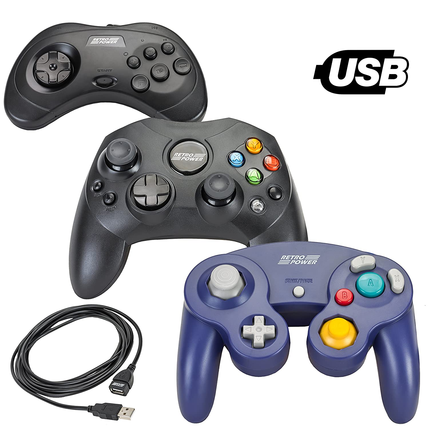 Retro Power 3 USB Classic Controllers - Gamecube, Sega Saturn, Xbox-Styled  (Original), with 10' USB Extension Cable!