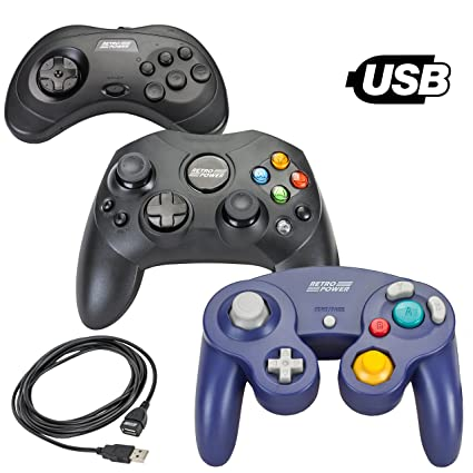 3 USB Classic Controllers - Gamecube, Sega Saturn, Microsoft Xbox  (Original) for RetroPie, PC, HyperSpin, MAME, NeoGeo FBA Emulator,  Raspberry Pi,