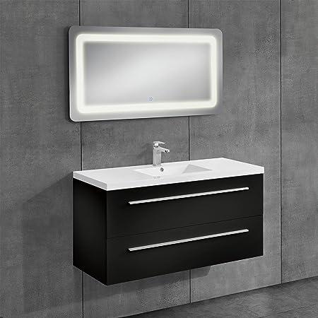 [neu.haus]® Bathroom Furniture / Base Cupboard With Washbasin / LED  Illuminated
