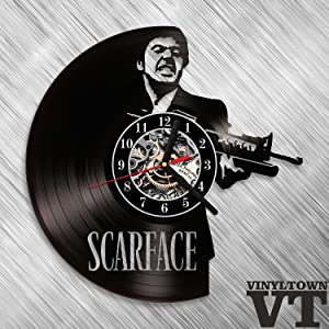 "Scarface Tony Montana Vinyl Record Wall Clock Fan Art Handmade Decor Original Gift Unique Decorative Vinyl Clock 12"" (30 cm)"