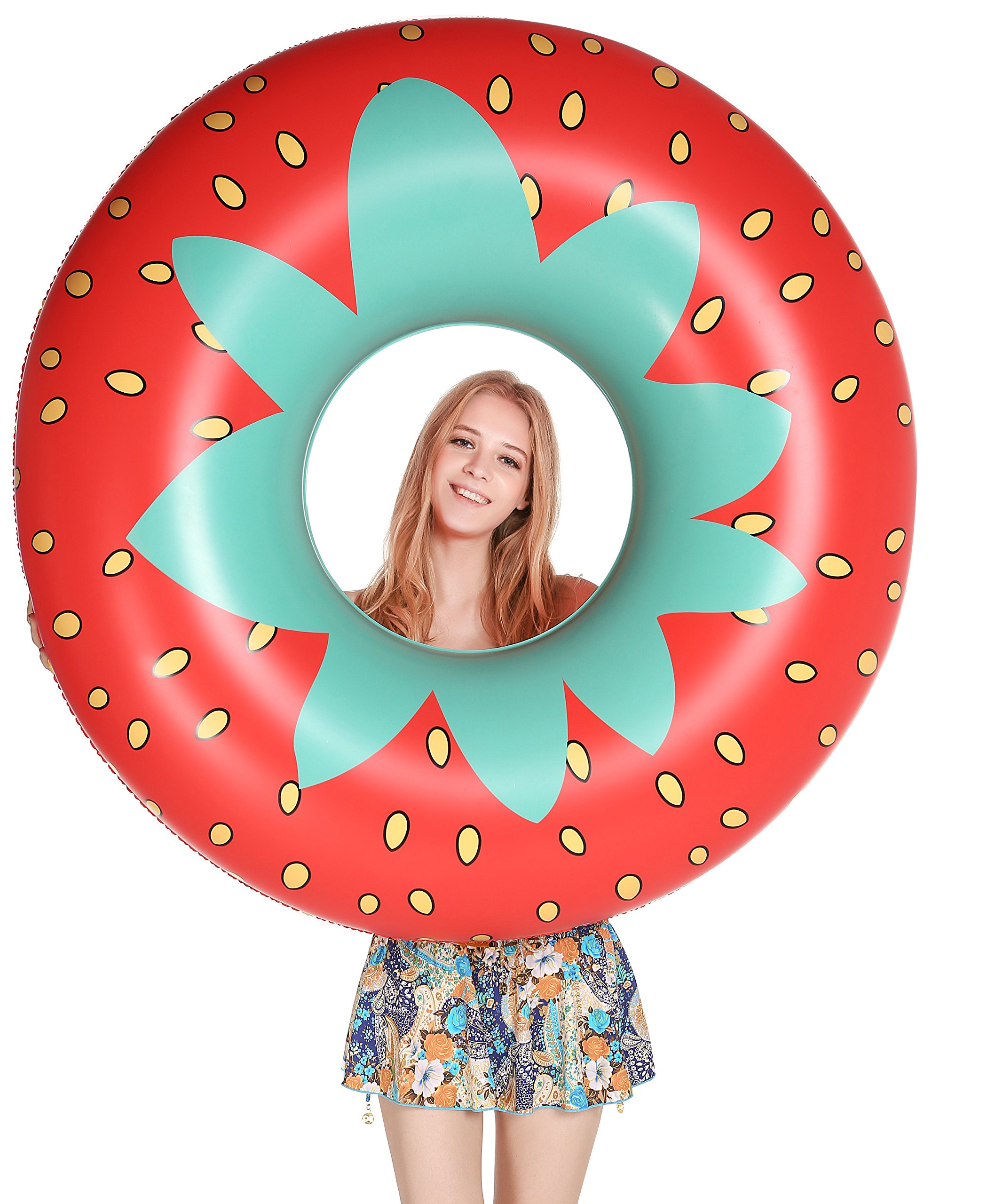 Jasonwell Giant Strawberry Pool Party Float 45 Inch Inflatable Pool Floats Tube Rafts with Rapid Valves Summer Beach Swimming Pool Lounge Decorations Toys for Adults & Kids