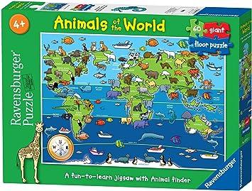 Ravensburger - Animales del Mundo, Puzzle de 60 Piezas (07072 5): Ravensburger Puzzle Animals of the World Giant Floor Puzzle (60 Pieces): Amazon.es: Juguetes y juegos