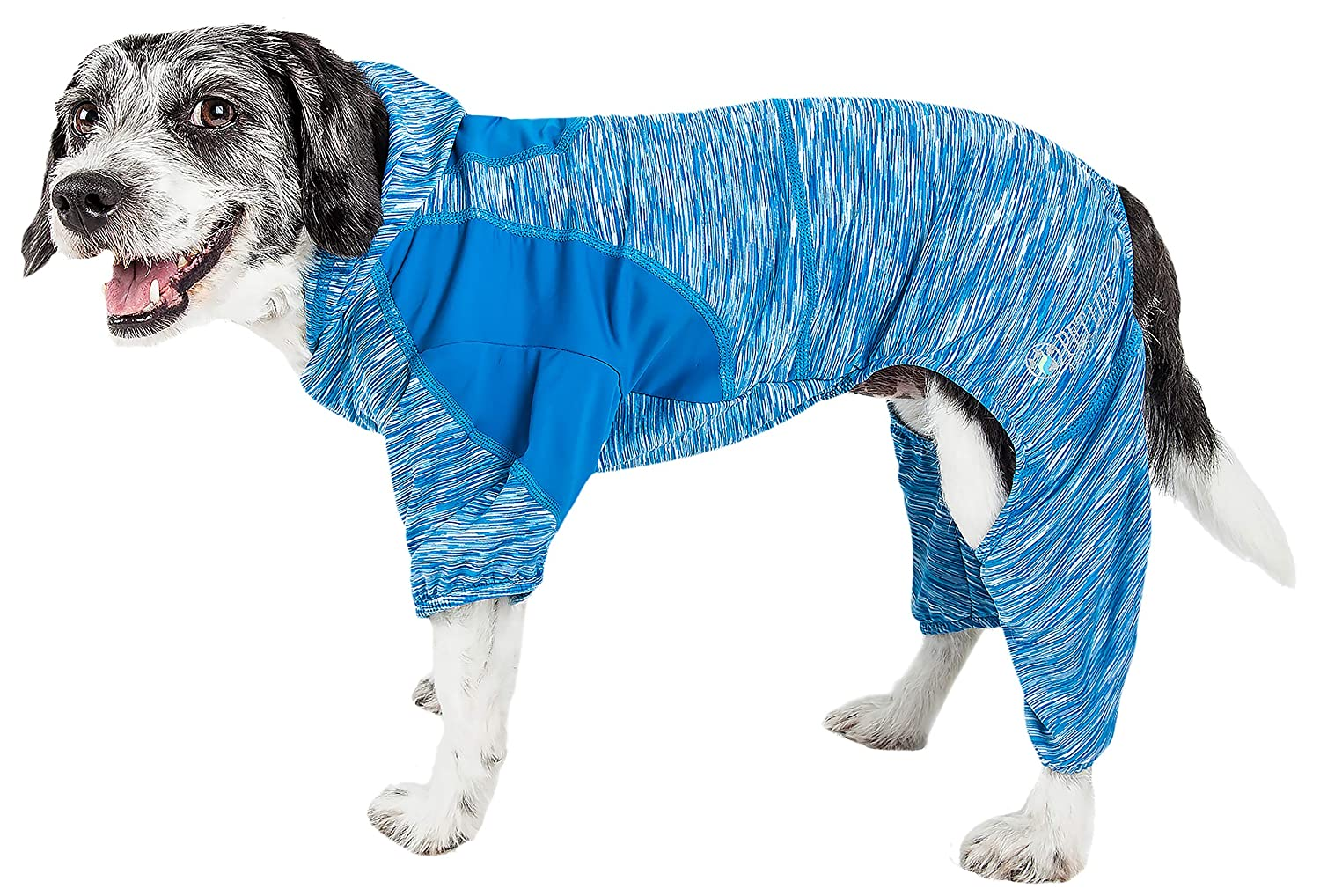 bluee X-small bluee X-small Pet Life 'Downward Dog' Heathered Performance 4-Way Stretch Two-Toned Full Body Hoodie, X-Small, bluee