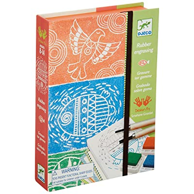 DJECO Workshops Rubber Engraving Kit, Make Your Own Decorative Rubber Stamps: Djeco: Toys & Games
