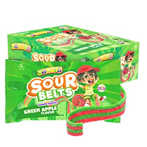 Zazer's Sour Belts Candy – Individually Wrapped Candy for Freshness – Green Apple Flavor – Low Fat, Low Sodium Sweets – Kosher Candies – Best Gift For Children (Pack of 36, NET WT 32.4 OZ, 900g)