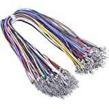 KONMAY 100pcs Bulk Lot 1.5mm Mixed Colors Waxed Cotton Cord Necklace 17'' with Plus 2'' Extension Chain
