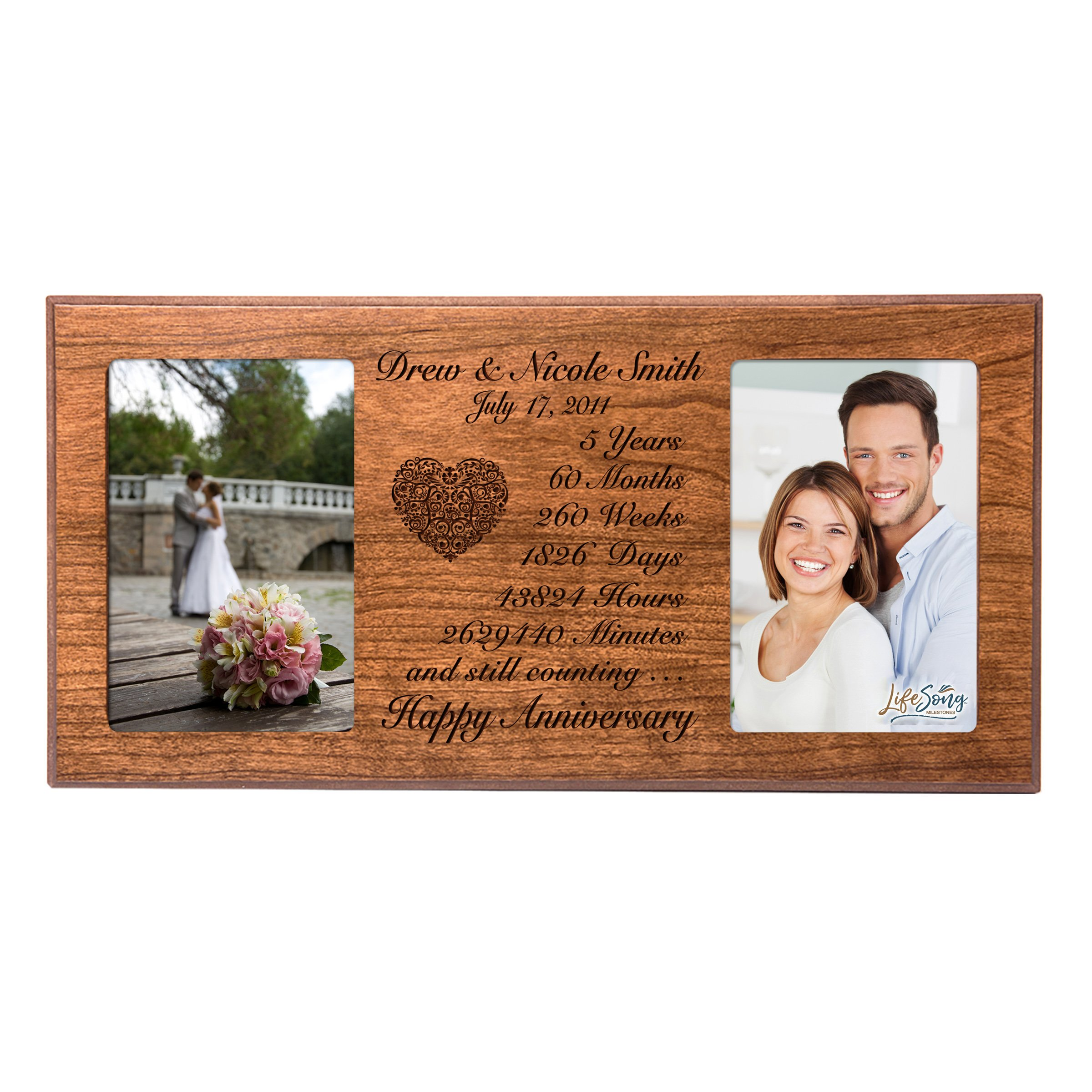 Personalized five year anniversary gift her him couple Custom Engraved wedding celebration for Husband wife girlfriend boyfriend photo frame holds two 4x6 photos by LifeSong Milestones (Cherry)
