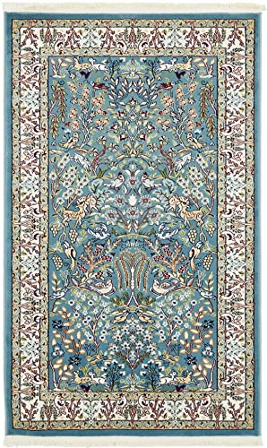 Unique Loom Narenj Collection Classic Traditional Hunting Scene Textured Blue Area Rug 3 0 x 5 0