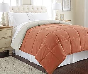Amrapur Overseas Goose Down Alternative Microfiber Quilted Reversible Comforter / Duvet Insert - Ultra Soft Hypoallergenic Bedding - Medium Warmth for All Seasons - [Twin, Orange Rust/Oatmeal]