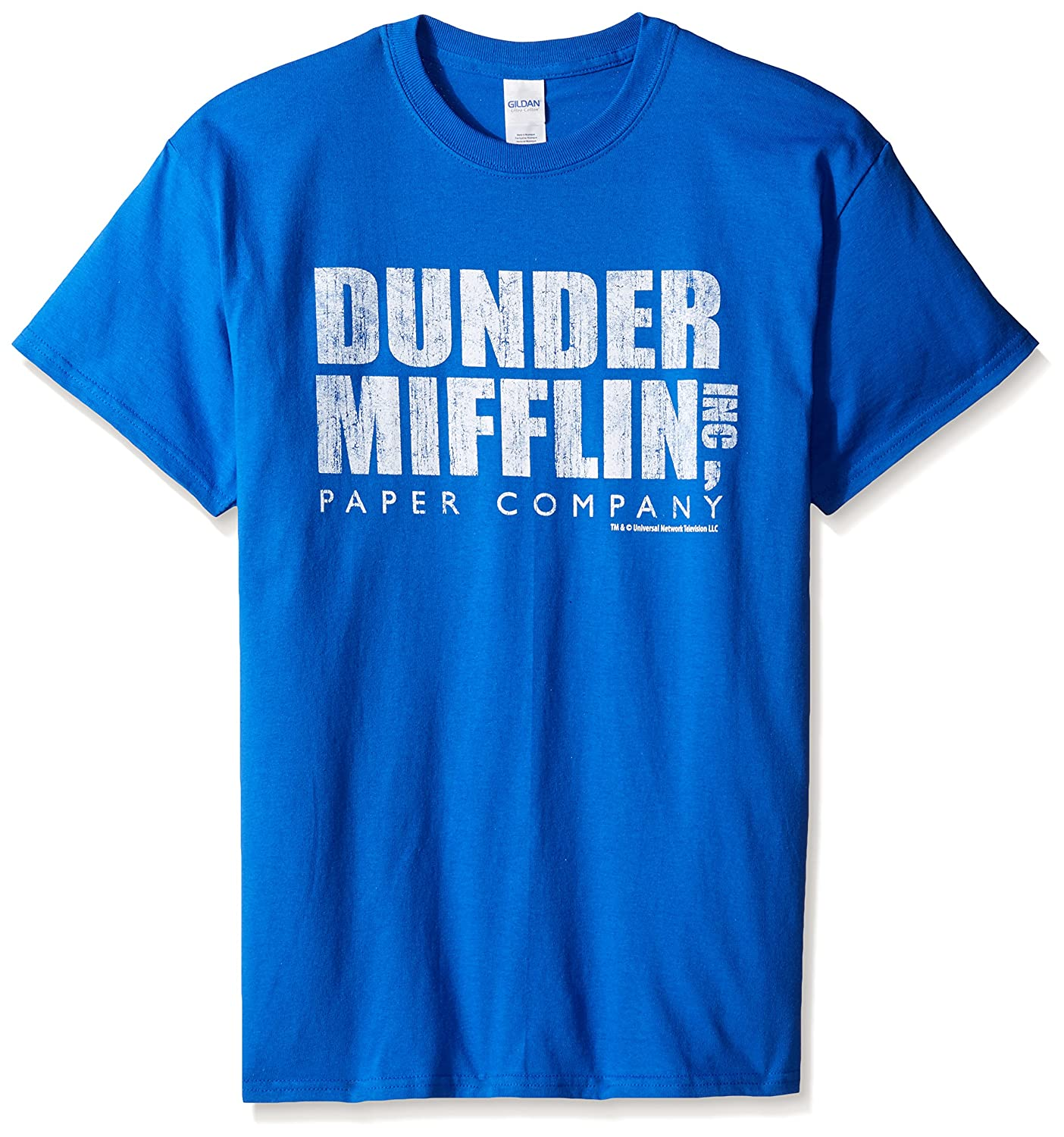 T-Line Men's The Office Tv Series Dunder Mifflin Distressed Graphic T-Shirt