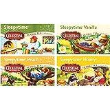 Celestial Seasonings Sleepytime Assorted Tea Bundle: (1) Sleepytime Classic, (1) Sleepytime Vanilla, (1) Sleepytime Peach, and (1) Sleepytime Honey (4 Total Boxes) - Gluten Free & Caffeine Free