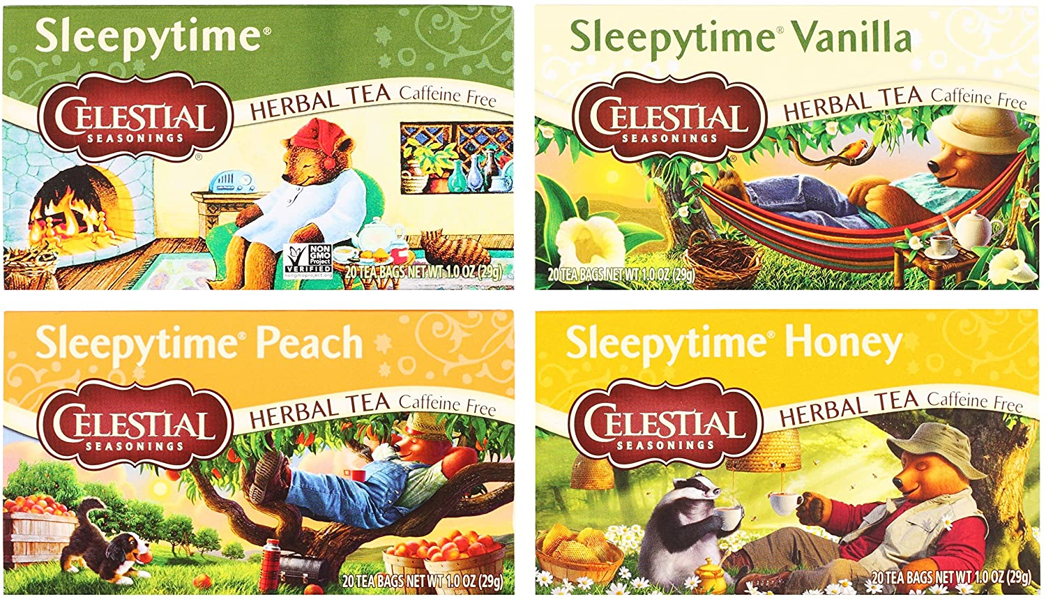 Celestial Seasonings Sleepytime Assorted Tea Bundle: (1) Sleepytime Classic, (1) Sleepytime Vanilla, (1) Sleepytime Peach, and (1) Sleepytime Honey (4 Total Boxes) - Gluten Free & Caffeine Free