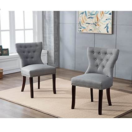 DAGONHIL Fabric Dining/Accent Chairs (set Of 2) With Brown Solid Wooden Legs