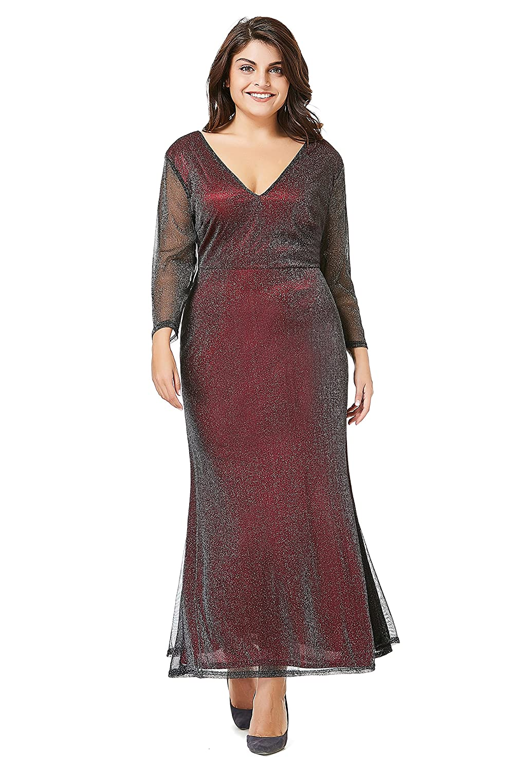 d501f8489 myfeel Plus Size Evening Ankle Length Dress with Long Sleeves Shining  Cocktail Dress at Amazon Women s Clothing store