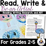 Read, Write, and BE AN ARTIST: All About Ostriches - (3rd grade art, 4th grade art, 5th grade art, 2nd grade art, easy art p