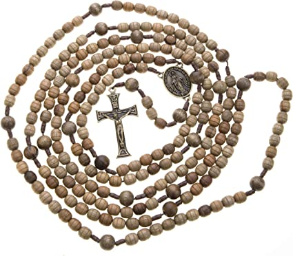Long black metal long Catholic rosary beads with Our Lady center large