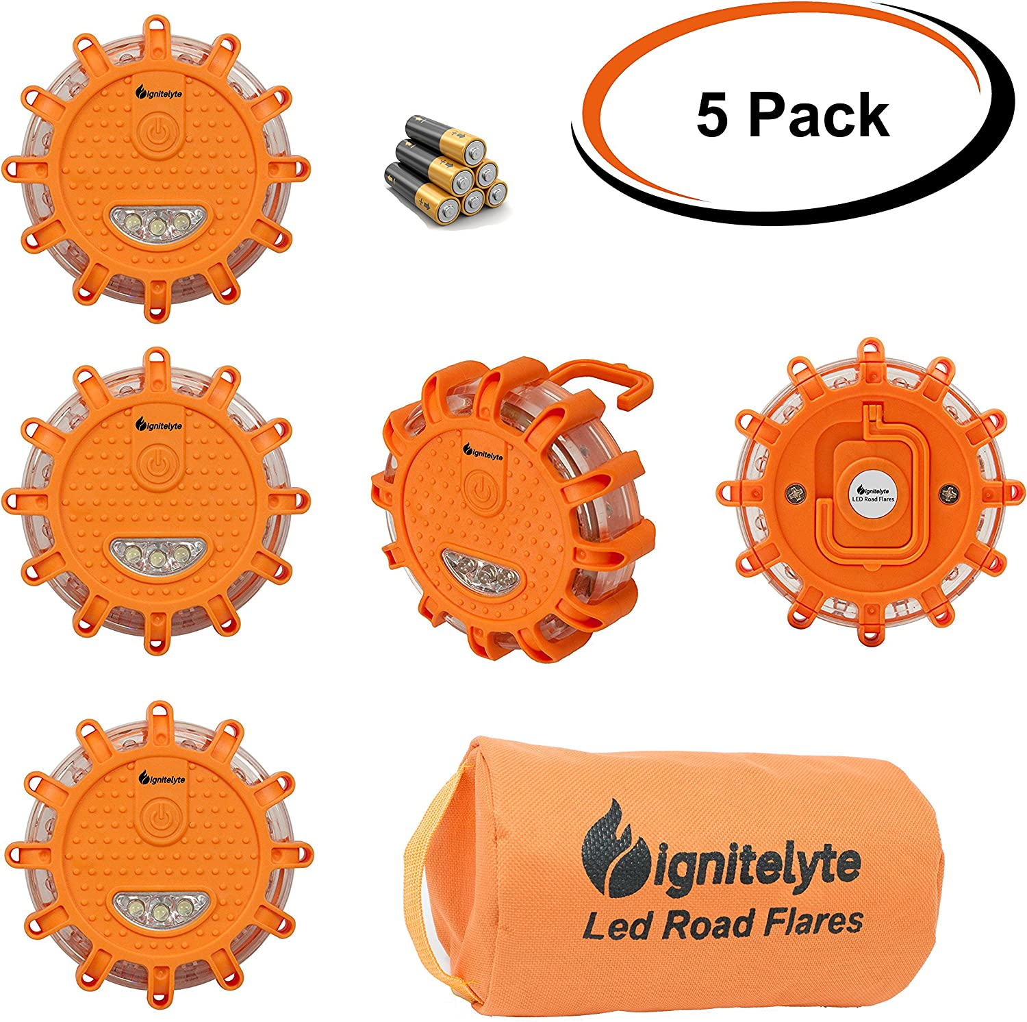 Pack of 5 Orion Star LED Road Flare Emergency Disc with Storage Bag and Batteries Included 9 Light Modes Plus Hook and Magnet SOS Signal for Camping or Hiking Flashing Safety Beacon for Car or Boat