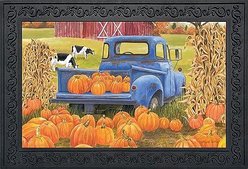 Briarwood Lane Pumpkin Patch Pickup Autumn Doormat Indoor Outdoor Farm Barn 18 x 30