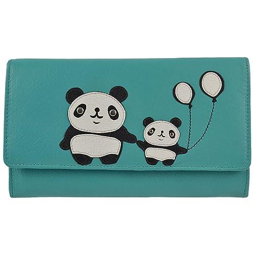 Señoras Gran Bi Fold Cartera de Piel Tipo Cartera por Mala colección Chi Chi Oso Panda Turquesa Turquesa: Amazon.es: Zapatos y complementos