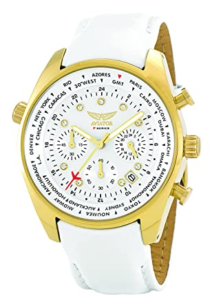 Aviator Womens Watch - Ladies Casual Fashion Wristwatch - White Strap Gold Case with White Crystals