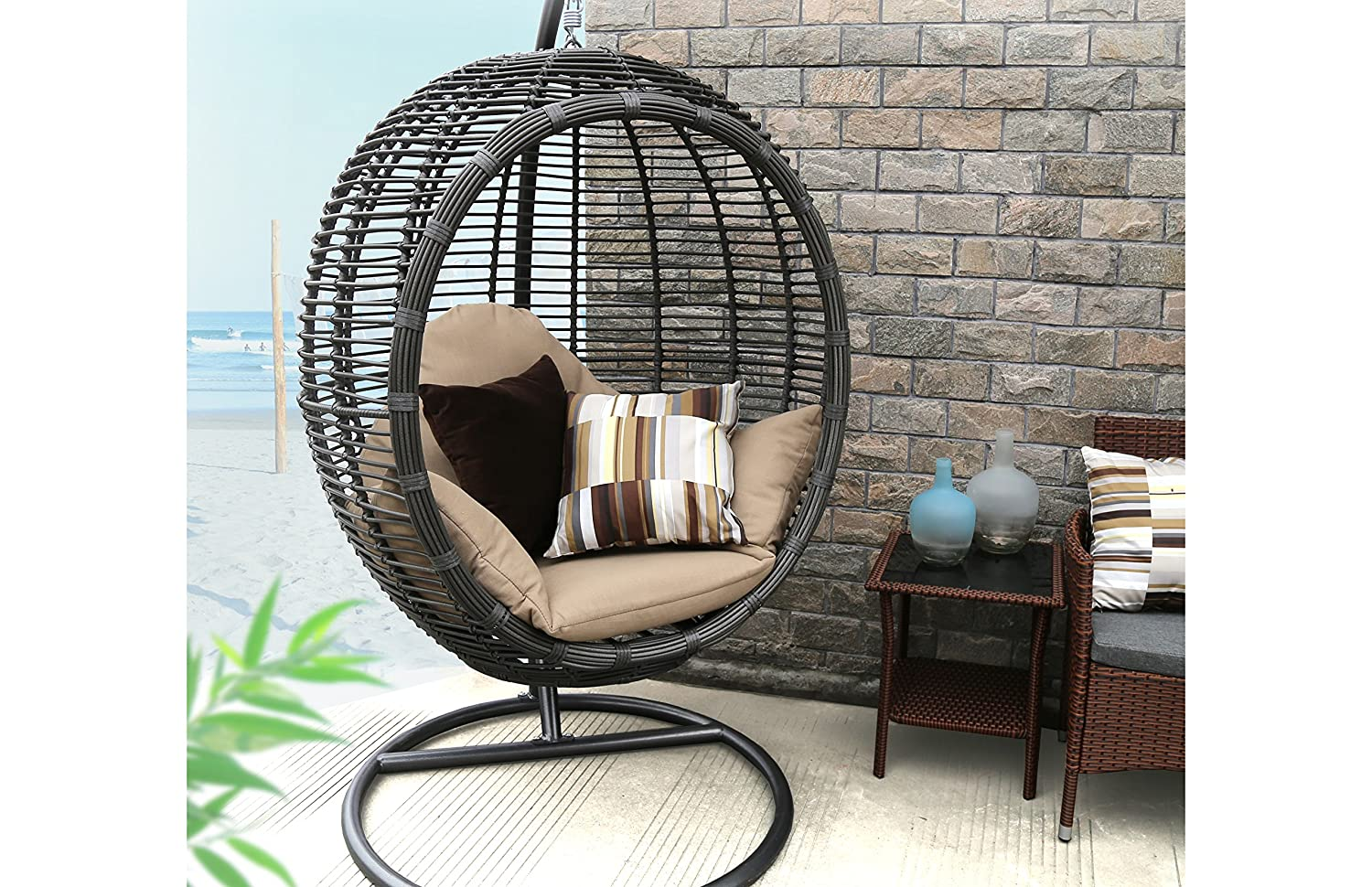 Amazon.com: Baner Garden X19 Oval Egg Hanging Patio Lounge Chair Chaise  Porch Swing Hammock Single Seat Stand Wicker With Cushion, Full, Black:  Kitchen U0026 ...