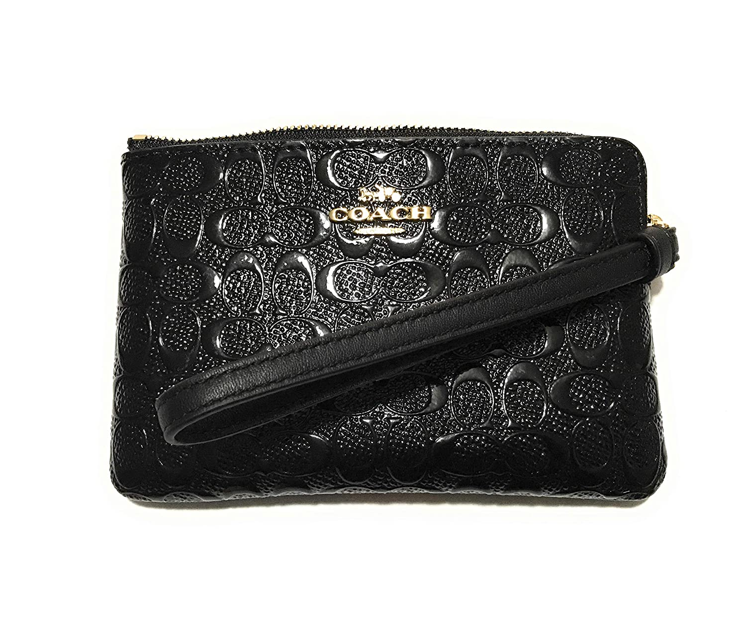 Coach Black Signature Debossed Patent Leather Corner Zip Wristlet F58034